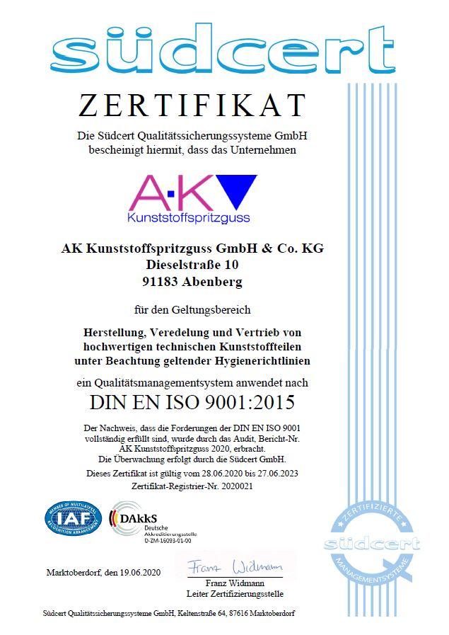 ak-kunststoffsspritzguss Zertifikat
