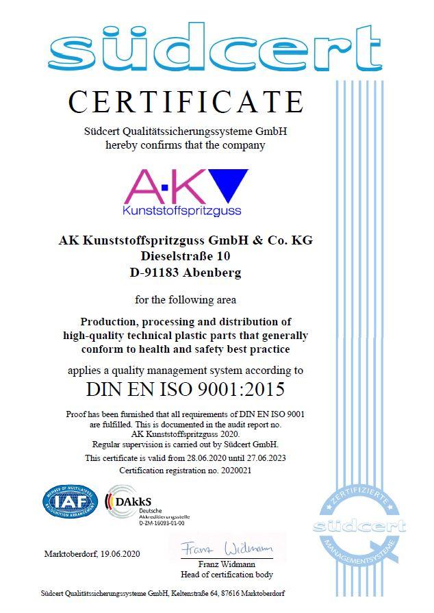 AK-Kunstoffspritzguss quality injection moulding zertifikat