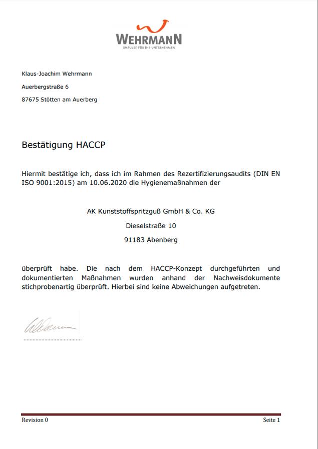 AK-Kunstoffspritzguss quality injection moulding certificate